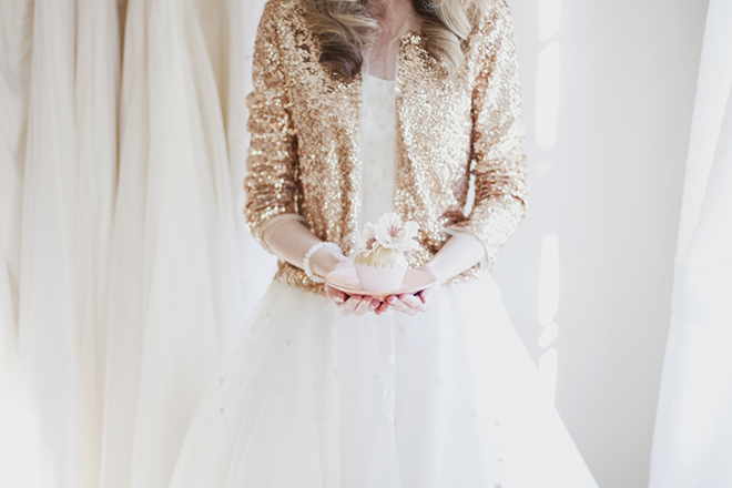 Extra sparkle!?  Yes please!  We love a bride in a sequined cardigan.