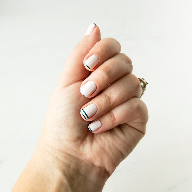 Learn how to use metallic foil nail tape for your bridal manicure!