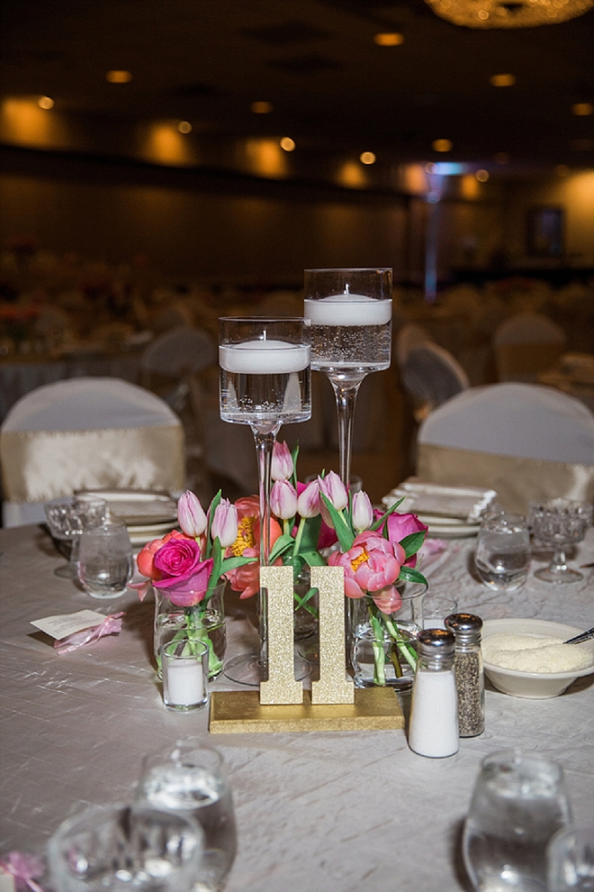 We're loving these gold glittery table numbers!