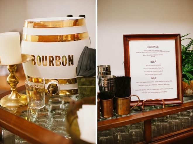 We love this super cute bourbon bar at this loft wedding!