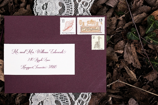 We love these stunning invitations at this styled Snow White wedding!