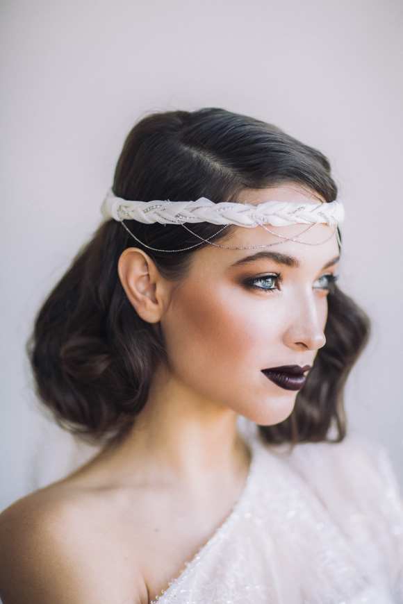 I have never seen dark lipstick on a bride, but I LOVE IT!!!