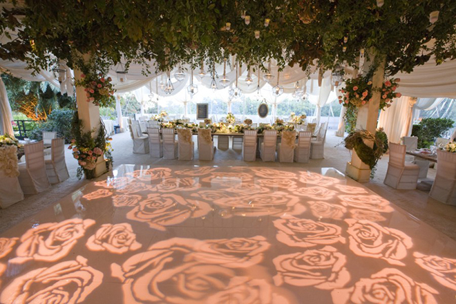 Dance floor lighting can go far beyond the monogram.