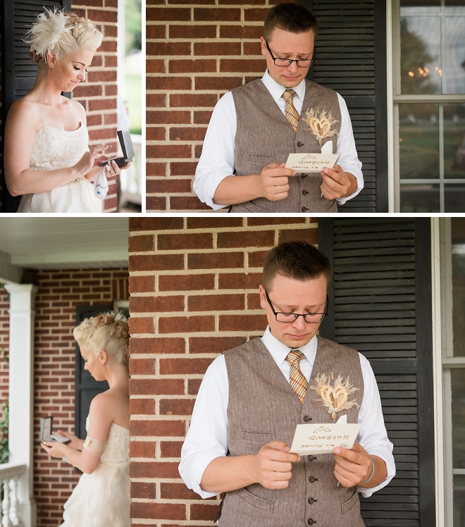 Super sweet snap of this couple and their first look!