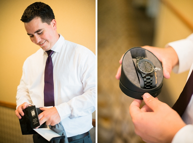 Great shot of the Groom getting his wedding gift from his Bride!
