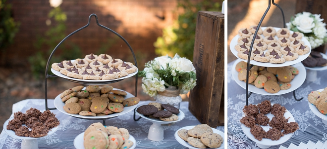 Such a pretty dessert table at this gorgeous wedding!