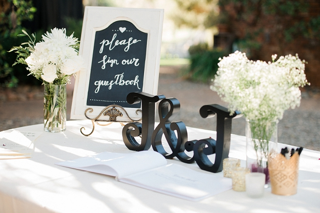 This couple did a traditional guest book at their wedding!