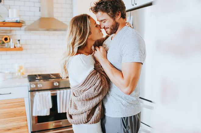 Take a relaxed engagement photos at home.