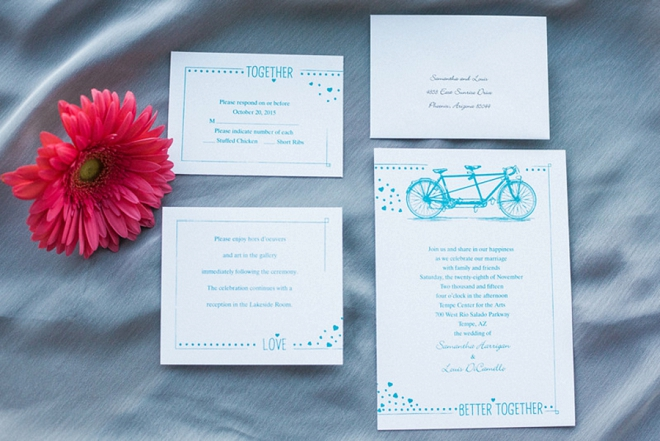 We love this darling turquoise invitation set designed by the Bride!