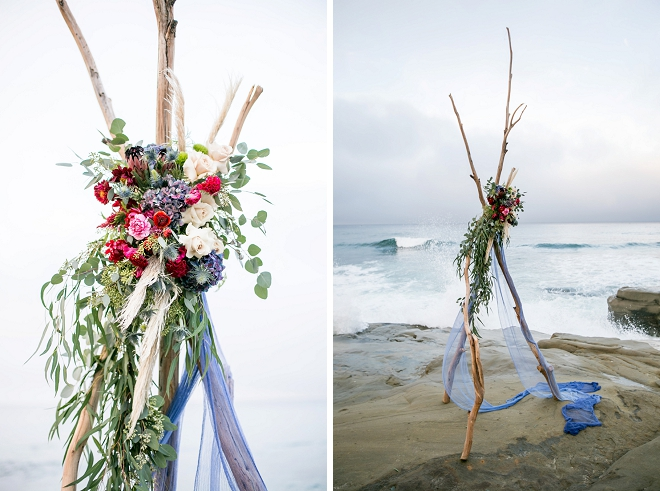 We're in LOVE with this stunning styled ceremony tee pee at this styled beach wedding!