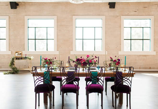 Swooning over this gorgeous styled table and jewel toned velvet chairs!