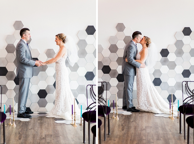 Stunning modern wall at this styled loft wedding!