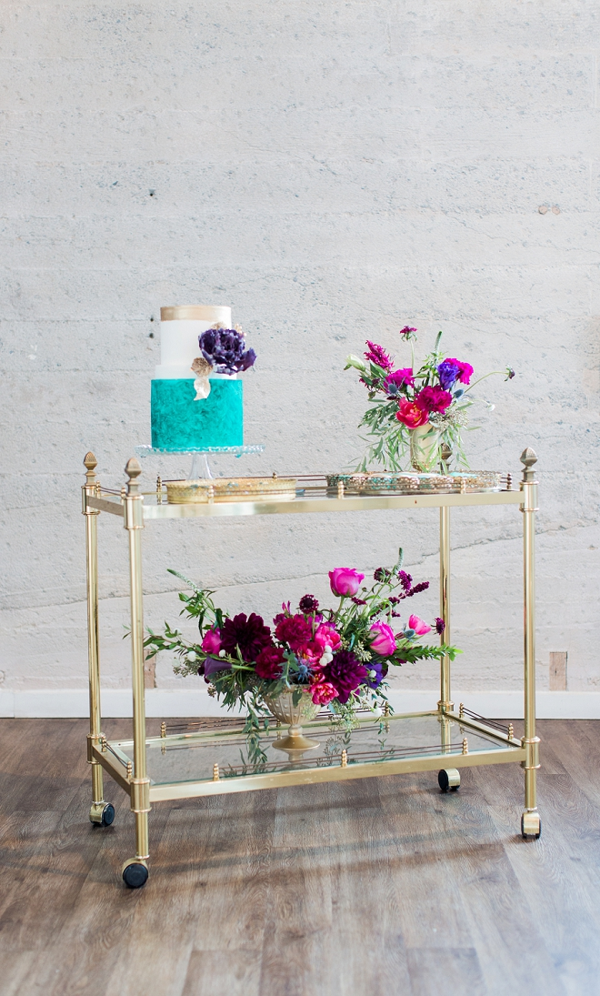 We love this gold dessert bar cart at this stunning styled wedding!