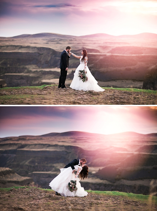 We cannot get over this stunning mountainside anniversary shoot and the perfect dip kiss!