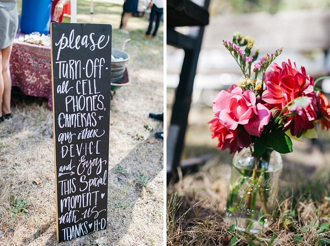 We love the wedding signage that the Bride hand lettered herself!