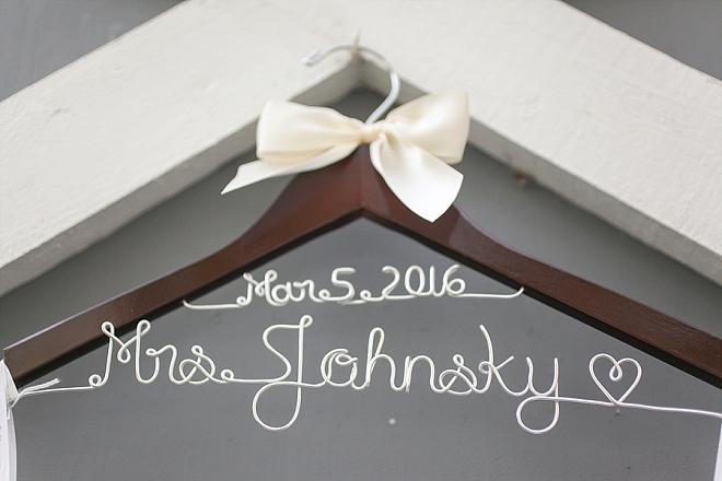Loving this beautiful Bride's handmade wedding day hanger!