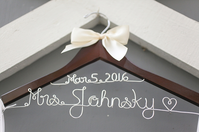 Loving this beautiful Bride's handmade wedding day hanger!