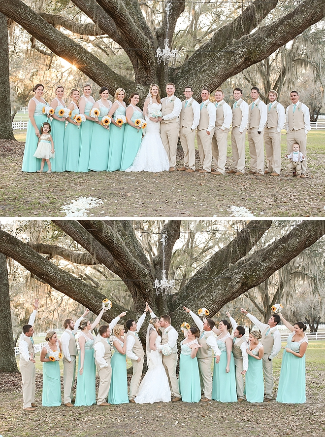 Check out the new Mr. and Mrs. and their stunning turquoise bridal party!