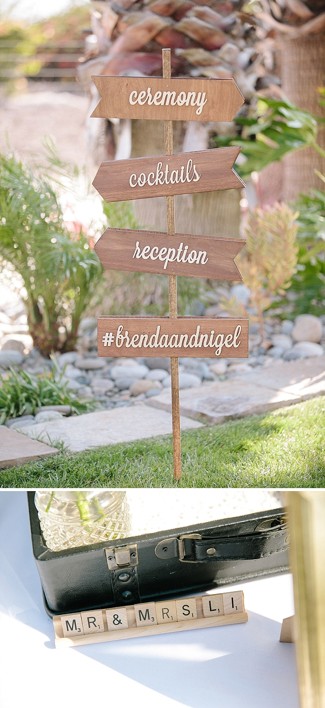 Check out this AMAZING wooden direction signage handmade by the Bride!