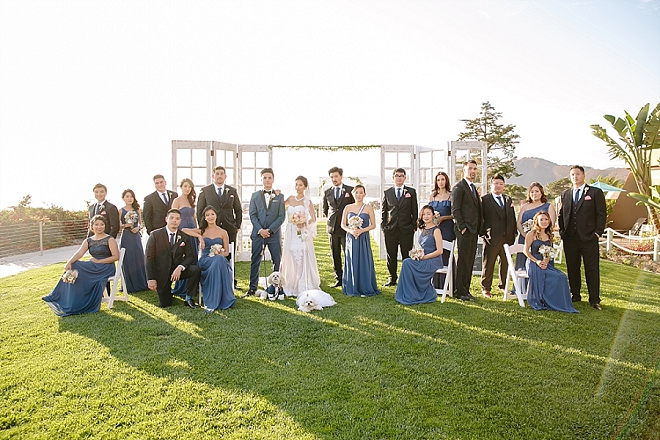 Great shot of the Bride and Groom and their gorgeous wedding party!