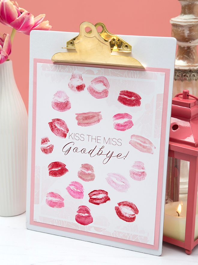Check out this free, printable Kiss The Miss Goodbye, guestbook idea, so cute!