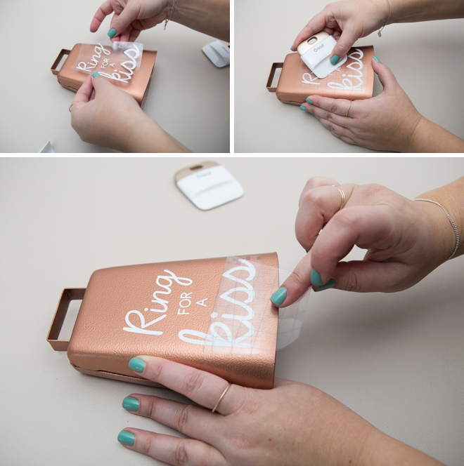 Learn how to make this darling Ring For A Kiss Cowbell for your wedding reception!