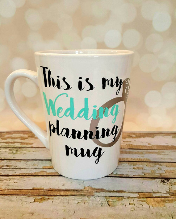 Drink more coffee while you plan with this adorable wedding planning mug!