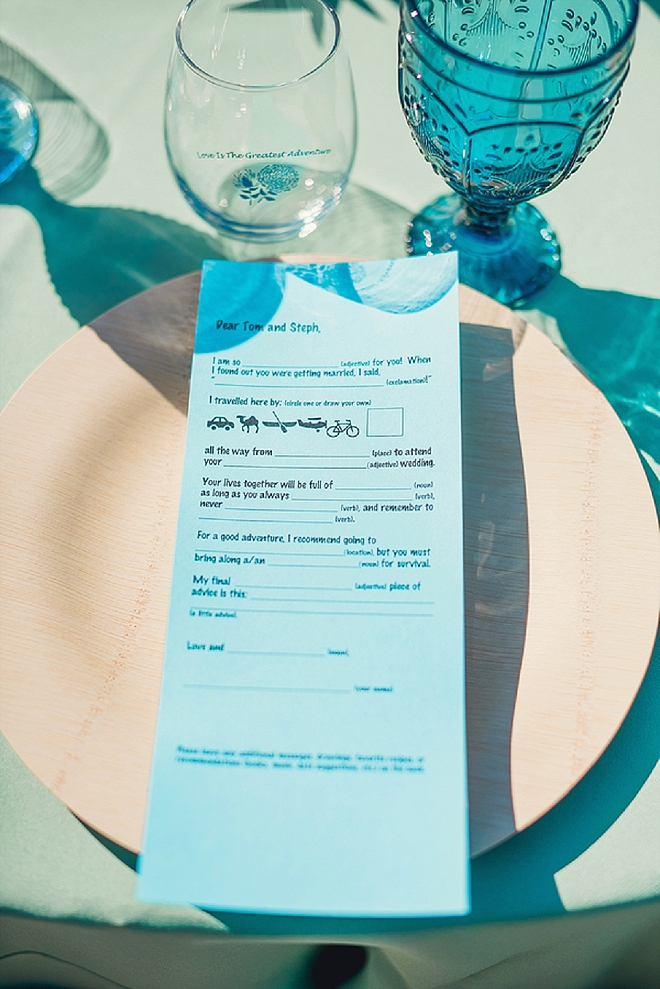 We're loving this wedding mad libs this darling couple had at their stunning reception!