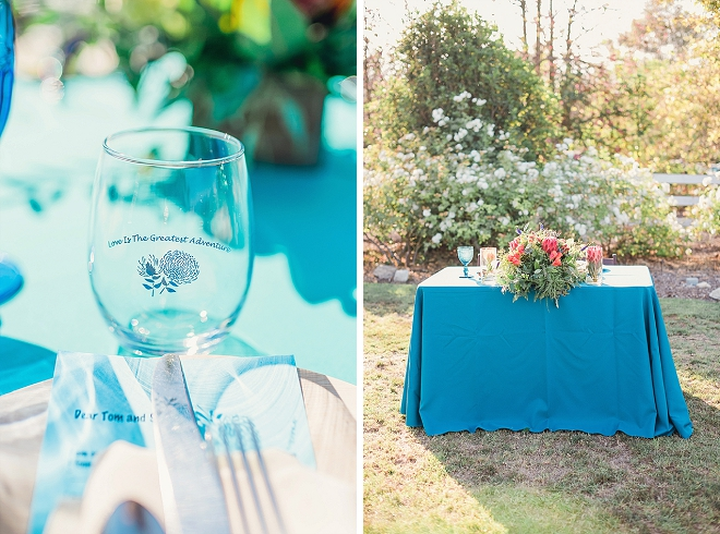 We're loving this uber romantic and turquoise California reception!