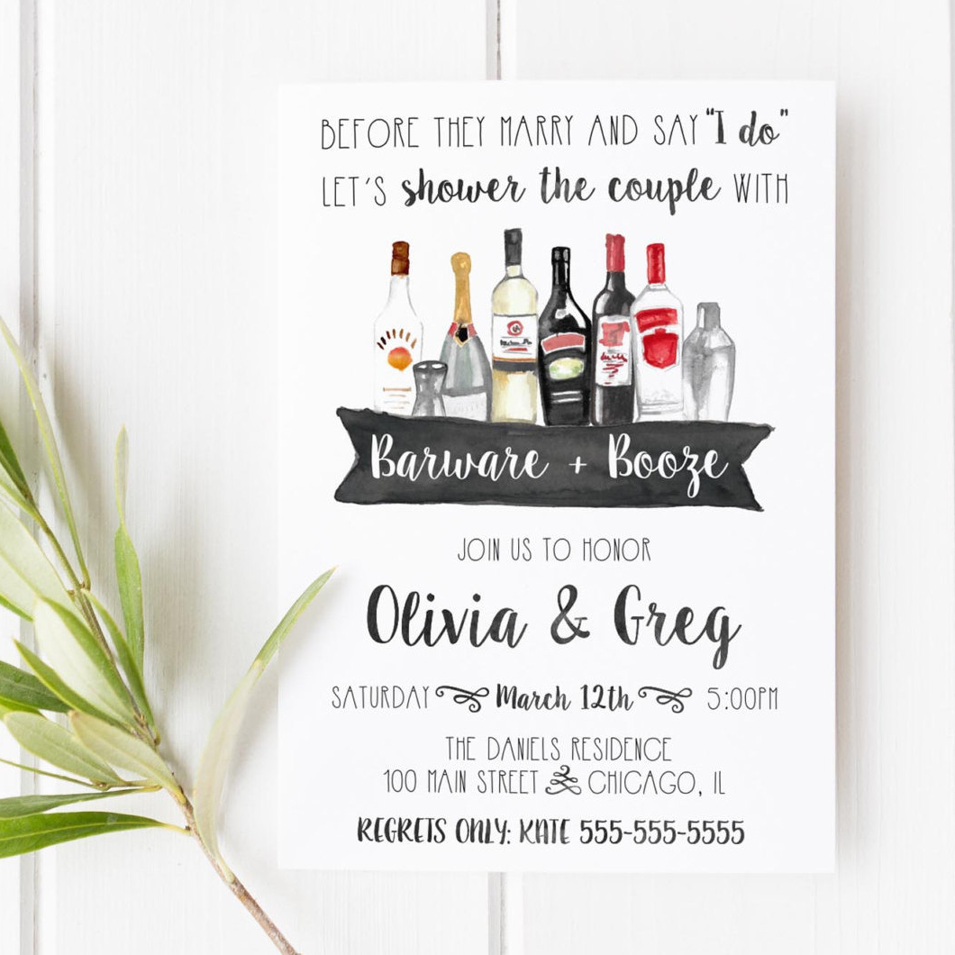 Barware + Booze Couples Shower Invitation by Lovely Paper Shop