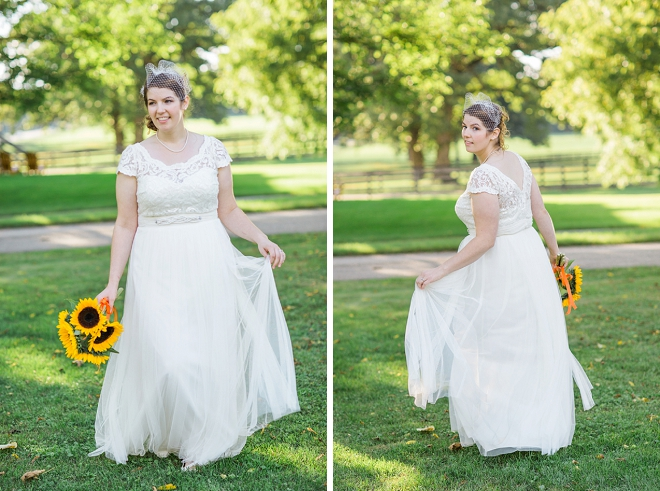 The beautiful Bride and her sunflower bouquet before the ceremony!