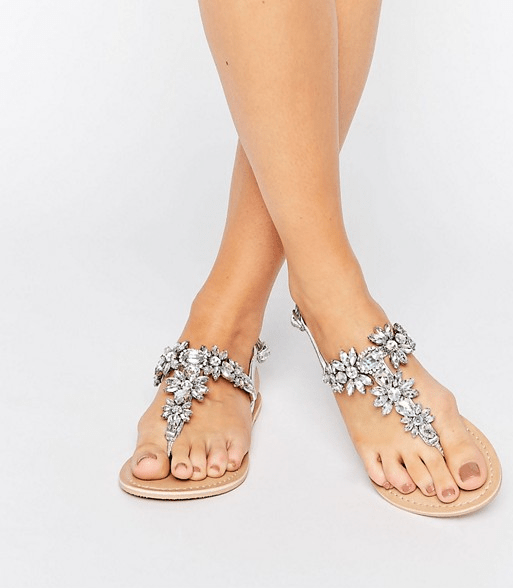 Wedding sandals under $50! So sparkly and pretty. #weddingshoes