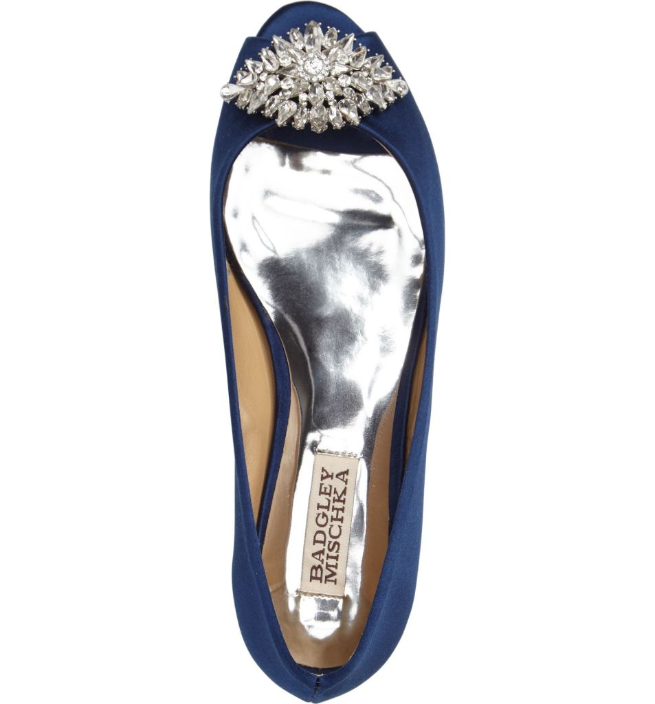 """These Bradgley Mischka Taft Peep Toe Flats are a great """"something blue"""" for a wedding! So pretty!"""