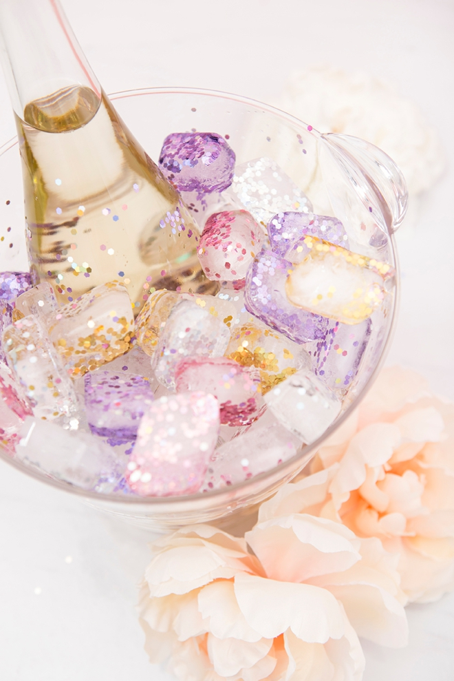 Make your own glitter ice cubes to chill your bridal shower wine with!
