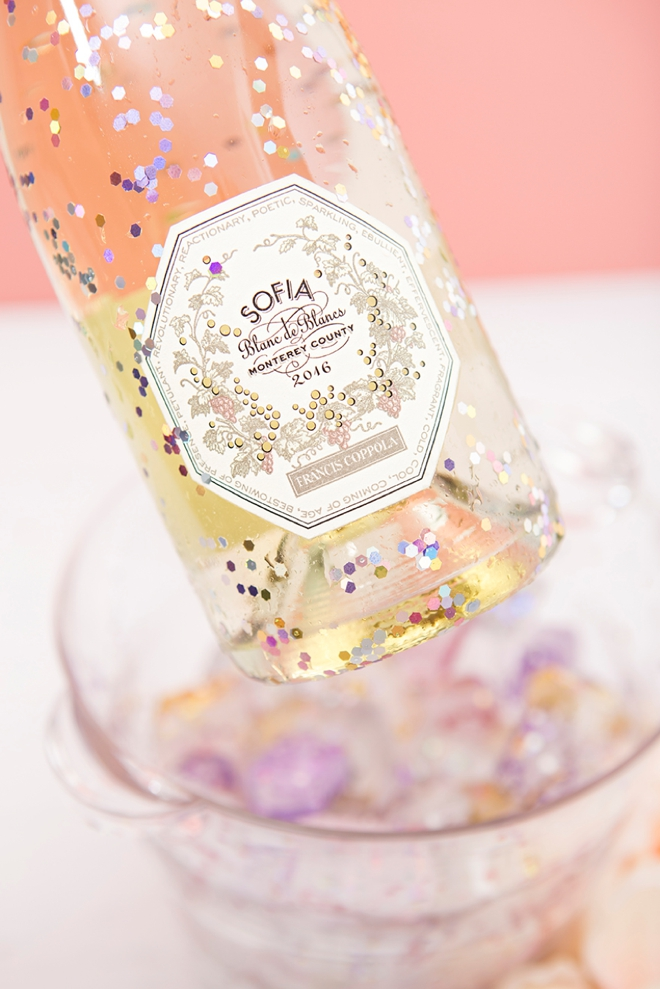 Make your own glitter ice cubes to chill your Sofia Coppola Blanc de Blanc with!