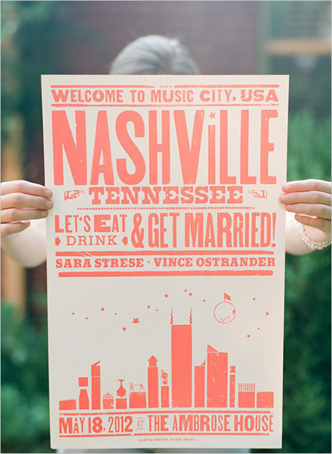 A wedding poster is a novel idea for a lovely wedding detail.