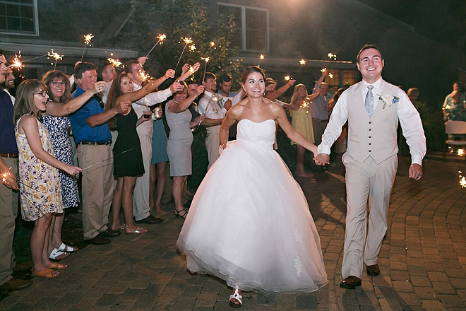 Leaving the wedding in a sparkler exit as Mr. and Mrs!