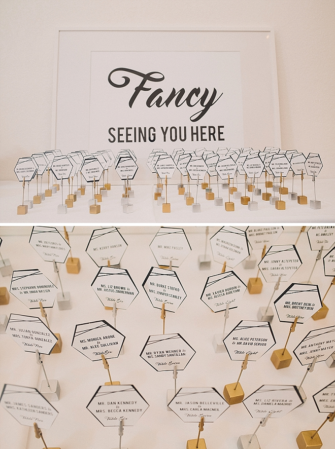 The Bride crafted SO much cute and modern wedding signage along with these cute escort cards!