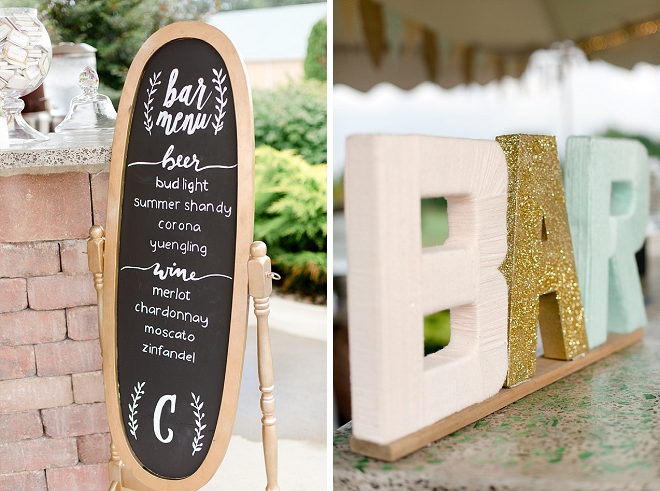 Daring details at this couple's reception bar!