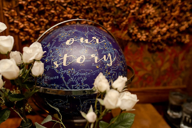 How darling is this globe sign at this lakeside wedding reception?! We love it!