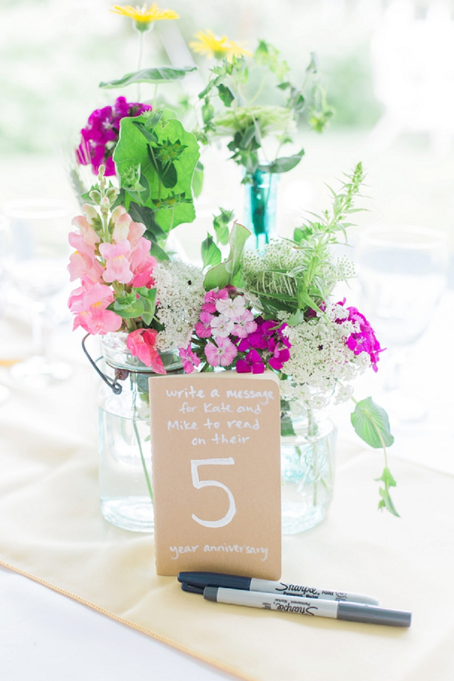 Check out these darling wild flower centerpieces and table numbers that they can read on each anniversary!