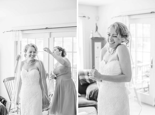 Such a cute snap of the Bride getting in her dress!