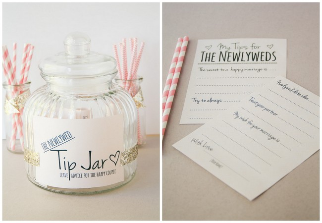 Cute idea for an alternative guest book: newlywed tip jar. 100% free printable!