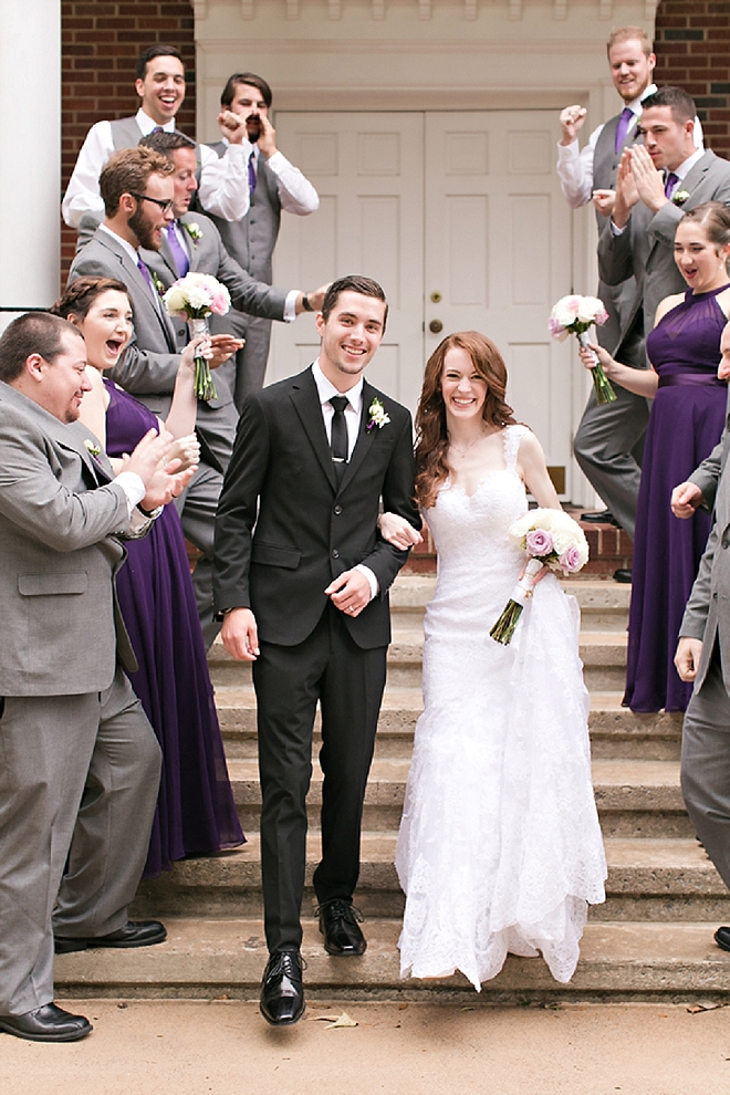 We love this snap of this couple and their fun bridal party after the ceremony!
