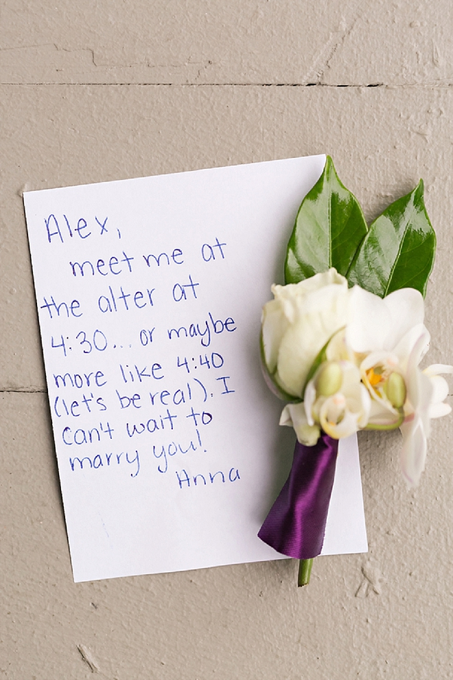 Super cute note to her Groom before the ceremony!