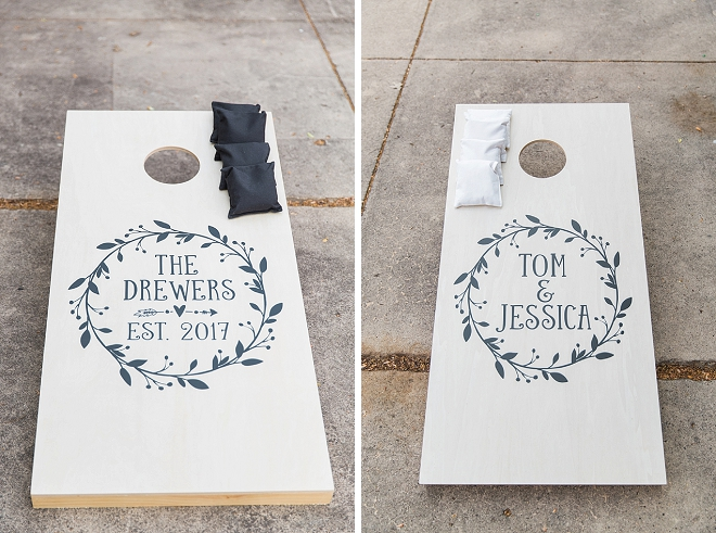 How fun are these customized corn hole game boards for the reception?! LOVE!