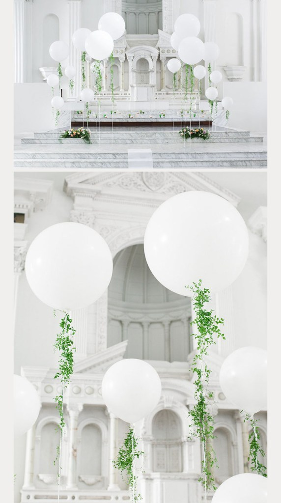Marble and oversized balloons with greenery. #weddinglove