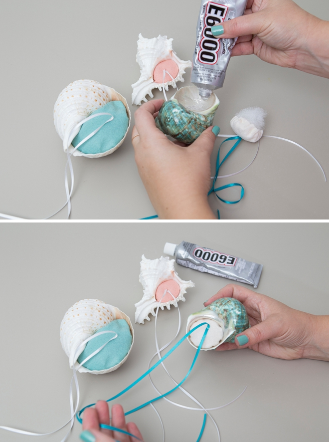 Learn how to make little felt pillows for the inside of seashells for your ring bearer to hold!