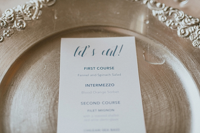 The Bride designed these darling Let's Eat reception menu's and we love them!
