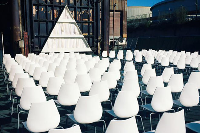 White wedding seating looks clean and modern.